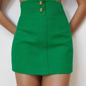 Zara S Green Gold Short Textured Tweed Skirt